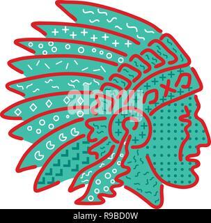 Anni ottanta Memphis style design illustrazione di un nativo americano capo indiano che indossa un copricapo piumato visto dal lato su sfondo isolato. Immagini Stock