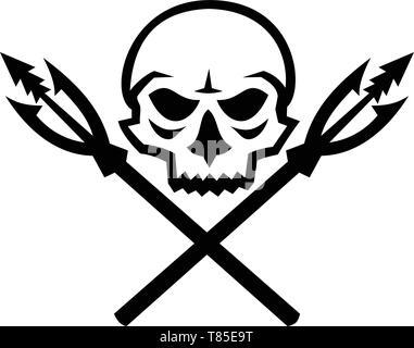 Icona di mascotte illustrazione del cranio umano con attraversata la pesca primitiva lancia ganci viste dalla parte anteriore su sfondo isolato in stile retrò. Immagini Stock