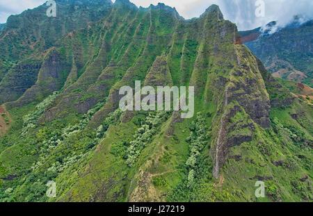 Kauai Hawaii antenna dalla elicottero del fiato costa di Na Pali canyon scogliere Na Pali-Kona riserva forestale Immagini Stock