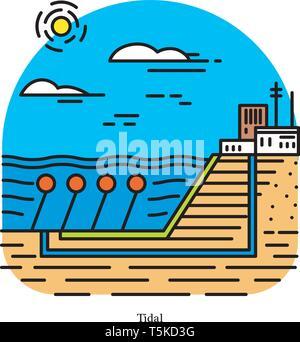 Tidal power plant. Forma di energia idroelettrica che converte l'energia ottenuta da maree in elettricità. Potente o stazione di generazione. Industrial Immagini Stock