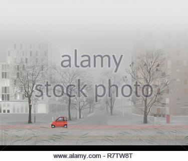 L uomo alla guida di piccole auto in vuoto foggy city street Immagini Stock