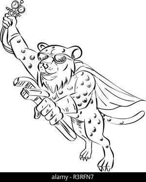 Lo stile del fumetto illustrazione di un ghepardo aria condizionata e refrigerazione meccanico indossando occhiali da sole e cape, tenendo in mano una chiave regolabile e manometro ma Immagini Stock