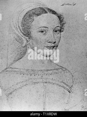 Belle arti, François Clouet (1510 - 1572), disegno Isabeau d'Hauteville, Dame de Chatillon, ritratto, il Musee Conde, Chantilly, Additional-Rights-Clearance-Info-Not-Available Immagini Stock