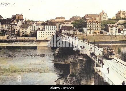 Tram a Meißen, Elba a Meißen, edifici a Meißen, Altstadtbrücke Meißen, 1917, Meißen, Alte Brücke, Germania Immagini Stock