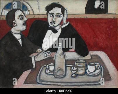 Gli intellettuali al caffèè (intellettuali presso il cafe), 1916. Collezione privata. Immagini Stock