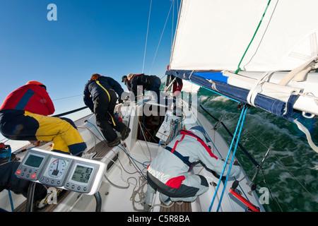 """""""Il lavoro di squadra"""" come mostrato da un yacht offshore Racing equipaggio. Immagini Stock"""