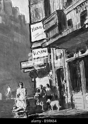 """Riproduzione di Yevgeny Kibrik immagini del paesaggio """"in Montmartre Street' Immagini Stock"""