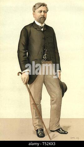 ALEXANDRE Gustave Eiffel (1832-1923) francese civile ingegnere che ha progettato la Torre Eiffel in un punzone cartoon circa 1885 Immagini Stock