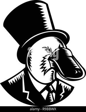Retrò stile xilografia illustrazione di un anatra fatturati platypus, un uovo semiaquatic-posa di mammifero endemico dell'Australia orientale, indossando un cappello a cilindro e busine Immagini Stock