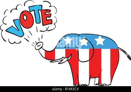 """Disegno stile sketch illustrazione di un elefante americano soffiando la parola """"voto"""" dal tronco isolato su sfondo bianco a colori. Immagini Stock"""