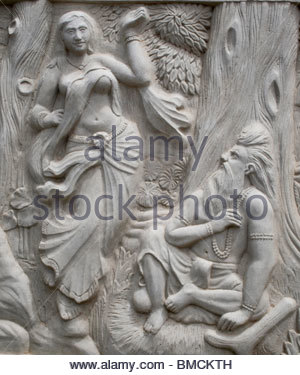Sculture tradizionali su pareti in Kerala Immagini Stock