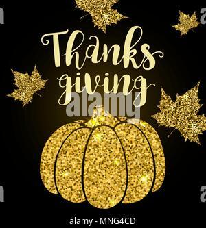 Golden glitter card con zucca, foglie e scritte. Biglietto di auguri per il giorno del Ringraziamento. Vacanze sfondo vettoriale. Immagini Stock