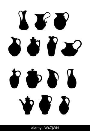 Set di brocche di diverse forme e configurazioni per il design e la decorazione. Design piatto. Immagini Stock