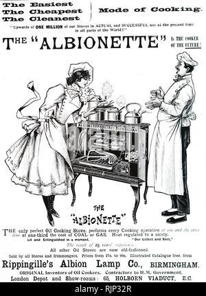 Un annuncio pubblicitario per Rippingille olio del fornello. Datata del XIX secolo Immagini Stock