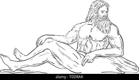 Schizzo di disegno illustrazione dello stile di Heracles, un eroe greco e Dio, reclinato di seduta o appoggio cercando di lato visto dal lato sul bianco isolato Immagini Stock
