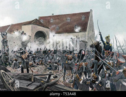Battaglia di Waterloo storming francese La Haye Sainte Immagini Stock