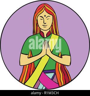 Ingresso linea mono illustrazione di una giovane donna indiana premendo le mani insieme con un sorriso per salutare Namaste, una comune pratica culturale in India insieme all'interno di c Immagini Stock