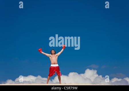 Un boxer celebra sul Cloud Nine. Immagini Stock