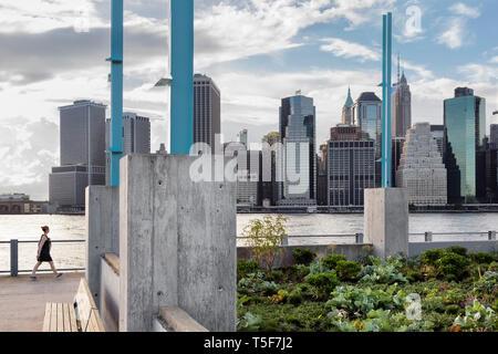 Piantare intorno al perimetro tra i resti della ex magazzino. Ponte di Brooklyn Park Pier 3, Brooklyn, Stati Uniti. Architetto: Michael Van Valk Immagini Stock