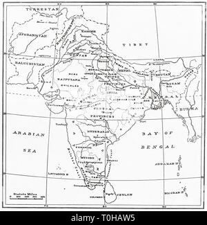 Mappa di India Immagini Stock
