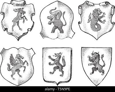 Araldica in stile vintage. Inciso lo stemma con animali, uccelli, creature mitiche, pesce, dragon, Unicorn, lion. Emblemi medievale e il logo Immagini Stock