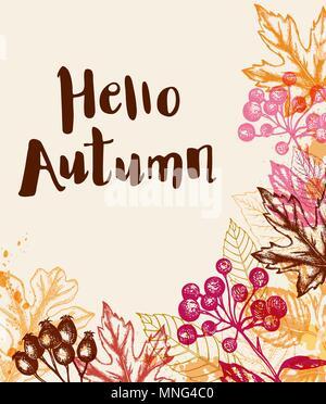 Vettore di vintage disegnato a mano sfondo autunno con foglie e bacche Immagini Stock