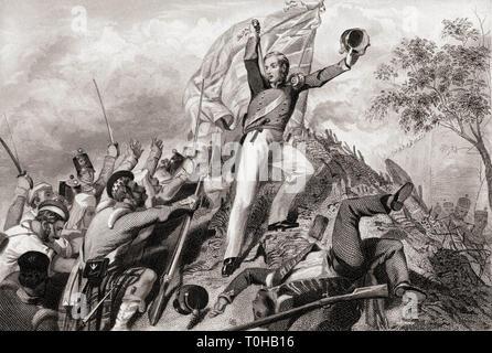 La cattura di pistole da montanari prima Cawnpore, India, Asia, 1857 Immagini Stock