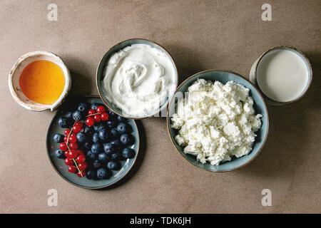 Latte e derivati del latte per la prima colazione. Formaggio fresco, yogurt bianco, il latte, la crema di latte, miele, mirtilli e ribes rossi berry nel recipiente di ceramica in fila su tex marrone Immagini Stock