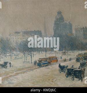 Inverno in UNION SQUARE, da bambino Hassam, 1889-90, la pittura americana, olio su tela. Il paesaggio urbano è Immagini Stock