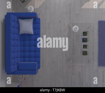 3D render di un salotto interno Immagini Stock