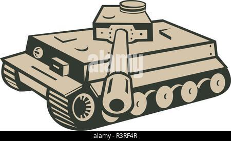 In stile retrò illustrazione di un Tedesco di seconda guerra mondiale panzer serbatoio battaglia puntando viewer su sfondo isolato. Immagini Stock
