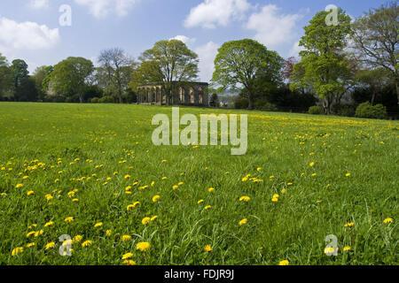 Vista su un prato di fiori selvaggi per l'Orangery a Gibside, Newcastle upon Tyne. George Bowes eredita le proprietà Immagini Stock