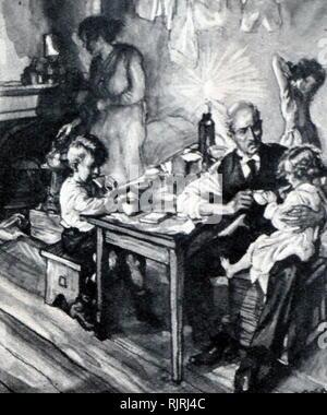 Illustrazione che mostra la povertà ha sopportato da un disoccupato di uomo e la sua famiglia, Inghilterra 1920 Immagini Stock