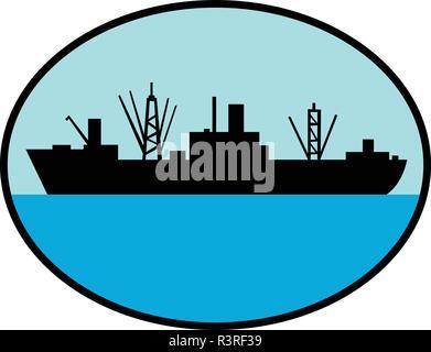 In stile retrò illustrazione di silhouette di una guerra mondiale due attacco anfibio nave da carico visto dal lato interno impostato ovale sul background isolato. Immagini Stock