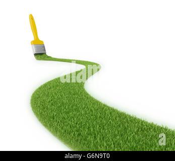 Percorso di erba fatta con una corsa di un pennello - 3D illustrazione Immagini Stock