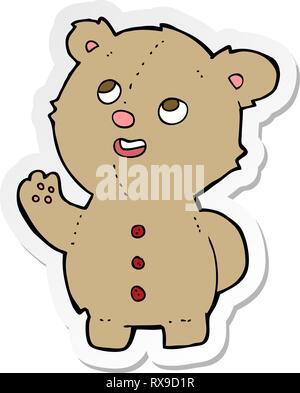 Adesivo di un cartone animato simpatico orsacchiotto Immagini Stock
