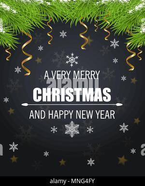 Vettore scheda di Natale con i fiocchi di neve, verde abete e filiale saluto iscrizione su uno sfondo nero. Immagini Stock