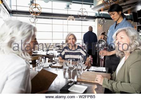 Le donne anziane gli amici a pranzo nel ristorante Immagini Stock
