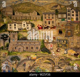Regno Unito, Cumbria, York, Sant'Andrea Chiesa Parrocchiale, il York Arazzo, comunità progetto ricami raffiguranti scene locali Immagini Stock
