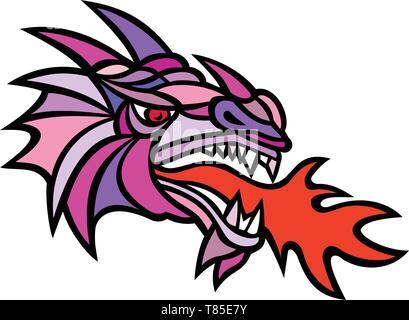 Icona di mascotte illustrazione della testa di un mitico Dragon fuoco respirazione visto dal lato su sfondo isolato in stile mosaico fatto a colori. Immagini Stock