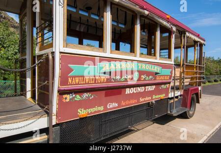 Kapaa Kauai Hawaii downtown villaggio Porto trolley bus navetta per i turisti Immagini Stock