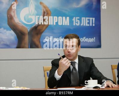 Il primo vice primo ministro Dmitry Medvedev meweting con compressore Volokolamskaya personale dello stabilimento Immagini Stock
