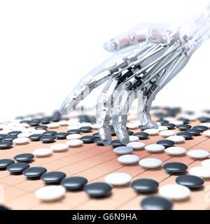 Intelligenza artificiale competere nel gioco del go - 3D illustrazione Immagini Stock