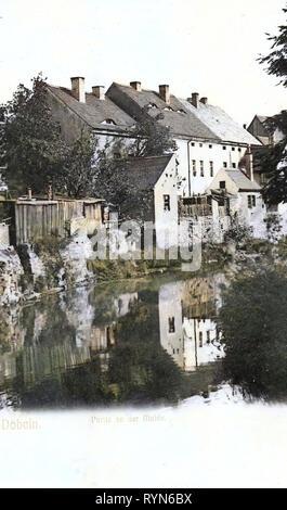 Edifici di Döbeln, Freiberger Mulde in Döbeln, 1905, Landkreis Mittelsachsen, Döbeln, An der Mulde, Germania Immagini Stock
