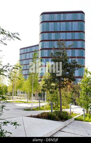 Architettura moderna, Vesterbro, Sydhavnen, Copenaghen, Danimarca, Europa Immagini Stock