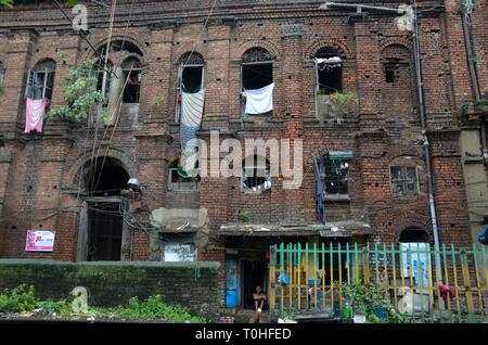 Vecchia casa di mattoni, Calcutta, West Bengal, India, Asia Immagini Stock