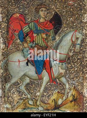 Icona indicante di San Giorgio e la gioventù di Mytilene. Questa icona rappresenta una leggenda circa un giovane Immagini Stock