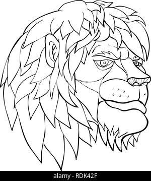 Lo stile del fumetto illustrazione di una testa di leone con piena mane in meraviglia visto dal lato su sfondo isolato in bianco e nero. Immagini Stock