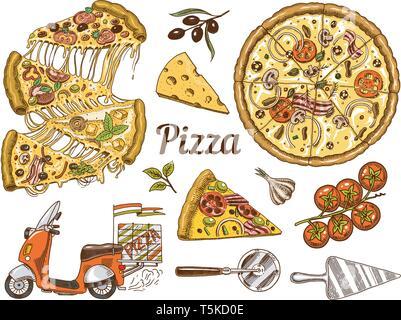 Set di pizza con formaggio. Yummy italiano cibo vegetariano con pomodori, frutti di mare e delle olive. Ingredienti per la cottura e la moto per la consegna. Schizzo Immagini Stock