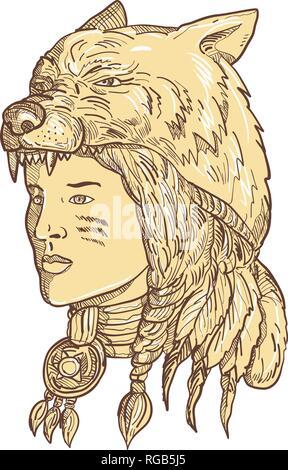Disegno stile sketch illustrazione di un nativo americano donna che indossa un copricapo di lupo, copricapo o headwear visto dal lato in seppia e sulla isolato Immagini Stock